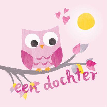 Geboorte dochter - roze uiltje - Felicitatiekaarten - Kaartje2go