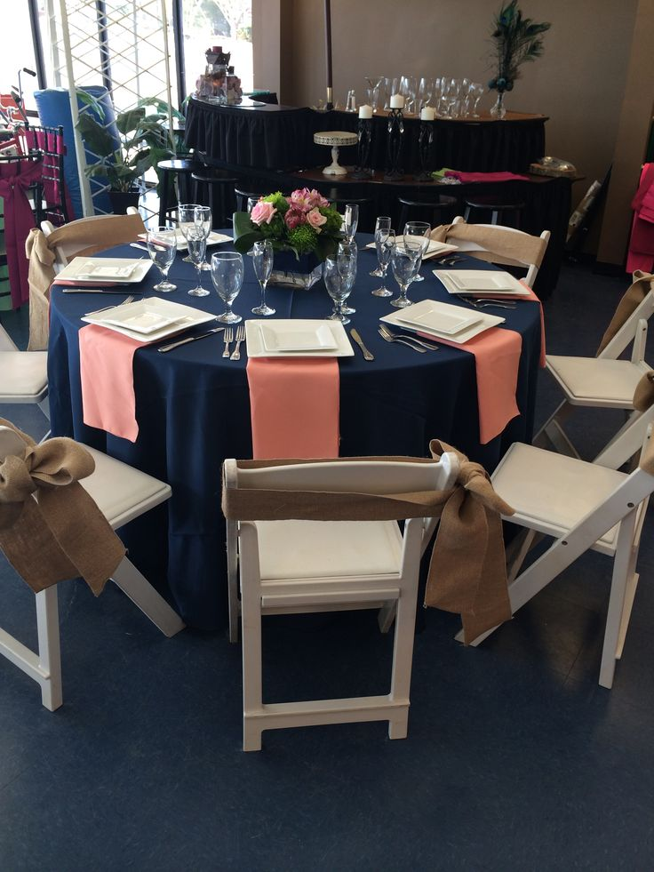 Navy and Coral Table with Burlap Chair Sashes