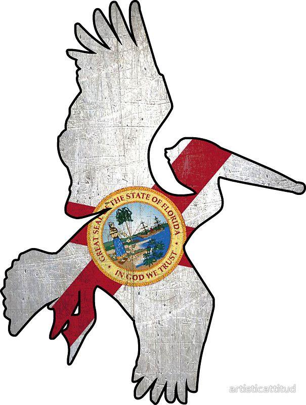 Florida flag pelican outline #Florida #flag #pelican #sticker  ArtisticAttitude.net