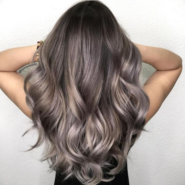 Chocolate Hair with Pearly Gray Highlights