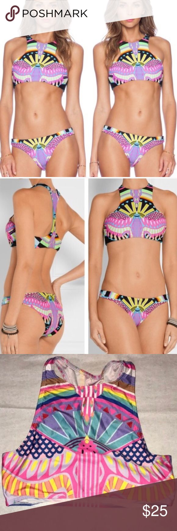 Bright colorful festival rainbow cheeky bikini Bright colorful festival rainbow crop top cheeky bikini, both size medium! Very fun swimsuit, with racerback top and high neckline. Actually bikini for sale in last 4 photos. NOT Mara Hoffman but looks like it could be with its bright bohemian tribal design. I believe this is originally from SheInside though Mara Hoffman Swim Bikinis