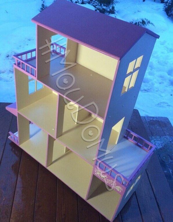 Купить Кукольный домик №1 - кукольный дом, Дом для кукол, розовый, дерево