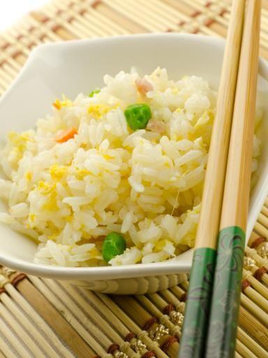 riz, oeuf, huile, oignon, sel, carotte