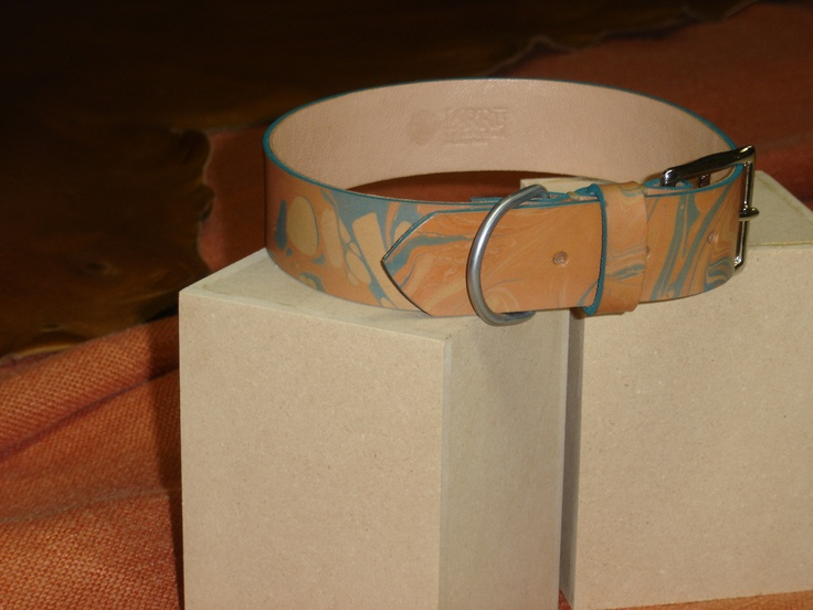 Large marbleized leather dog collar. Hand-stitched. www.larruleathers.com