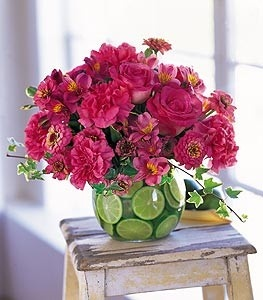 Love the use of the limes to add the green! Even MORE if you click the image!: Decorating Idea, Ideas, Wedding, Flower Arrangements, Hot Pink, Floral Arrangement, Limes, Centerpieces, Flowers