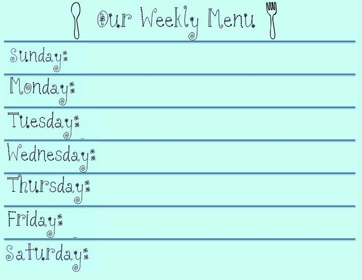 As 25 melhores ideias de Weekly menu template no Pinterest Menu - weekly menu