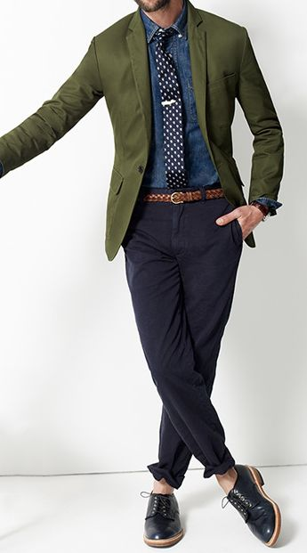 green + navy -- great color combo for the fall // menswear style + fashion