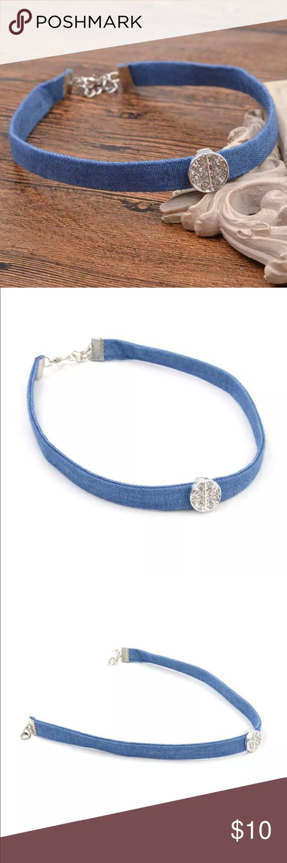 New✨Denim Choker With Crystal Rhinestone Pendant😍 New✨Denim Choker With Crystal Rhinestone Pendant😍  🔸Brand New✨ 🔸PRICE IS FIRM- already listed at lowest price  🔸If you want to save please look into bundling  🔸In Stock 🔸No Trades 🔸Will ship same day as long as order is received by 1:00pm PST Jewelry Necklaces