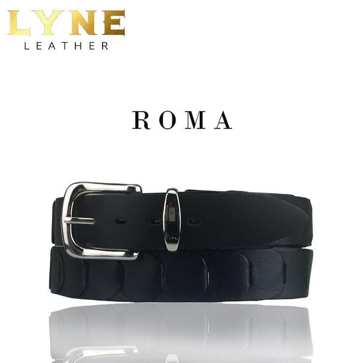 'ROMA' KANGAROO LINKED BLACK BELT.  Quality Australian Made Genuine Leather Kangaroo Strong & Reliable Buckle & Keeper