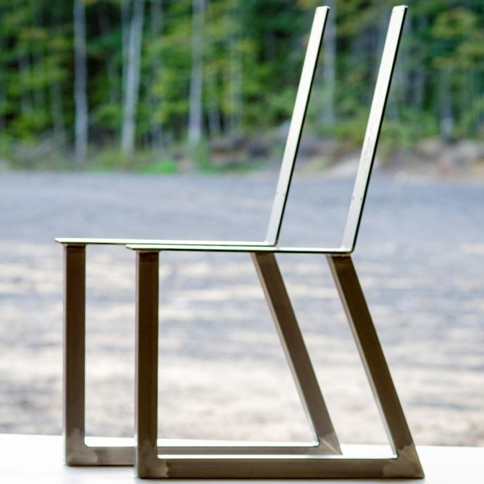 Welded Steel Bench Chair Leg Set With Backrest Unfinished Steel Bench Chair Legs Chair