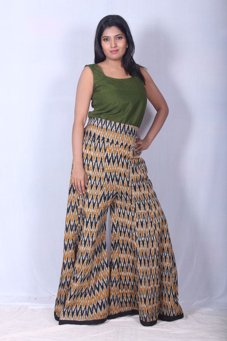 Making a fashion statement is no time to be boring with this ikat palazzo pant. cost:Rs 950/- (for trade inquiries please contact our whatsapp no Single / Retail Customer ...please contact 8099433433 )