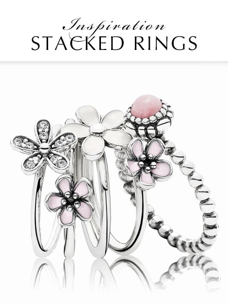 Create your own flowery meadow by stacking delicate floral rings. Go for soft pink hues for a gorgeous, feminine style. #PANDORAring