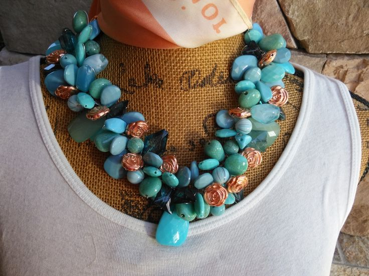 Please Pin if you like this new design!   Make a Serious Statement with this Beauty!   Check out my Sale!!!! Turquoise Statement Necklace, Statement Collar, Bib Statement, Handmade Necklace