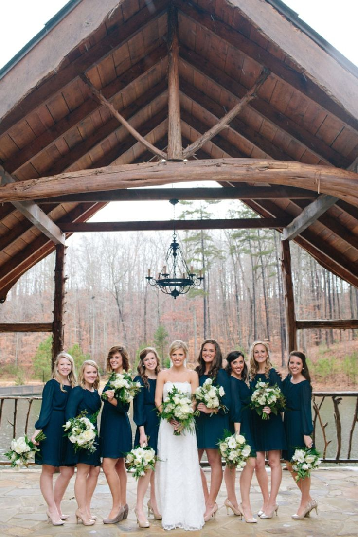 Love the long-sleeved BM dresses! Beautiful. #navy | The Every Last Detail | Photographer: Lauren Carnes Photography