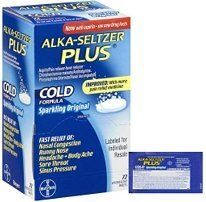 Alka-Seltzer Plus Cold - 72 tablets by Alka-Seltzer. $14.75. Now with Aspirin. Sparkling original. Fever reducer. Pain reliever. 72 effervescent tablets. Alka-Seltzer Plus® Cold provides fast relief of nasal congestion, runny nose, sneezing, headache, and sinus pain and pressure. This pack includes 72 tablets.