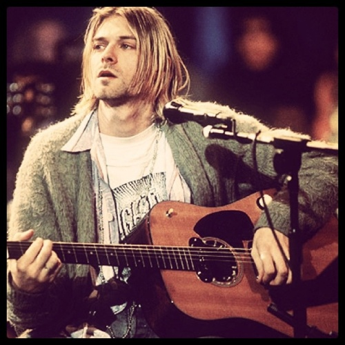 Nirvana fans will recognize this image from their MTV Unplugged show. He was adorable and brilliant. #Kurt Cobain