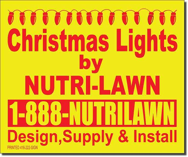 Christmas lights lawn bag signs; Nutri-Lawn lawn signs; See more lawn sign designs: https://www.lawnbagsigns.com/lawn-signs.php