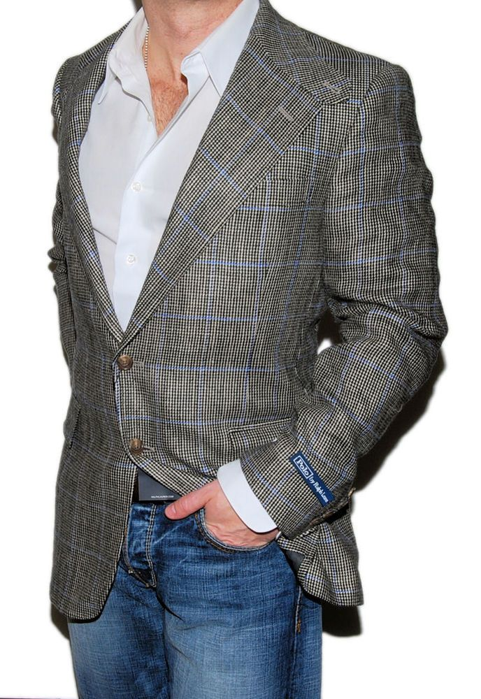 d4413ad3 eBay #Sponsored Polo Ralph Lauren Mens Blazer Flax Linen Silk Plaid ...