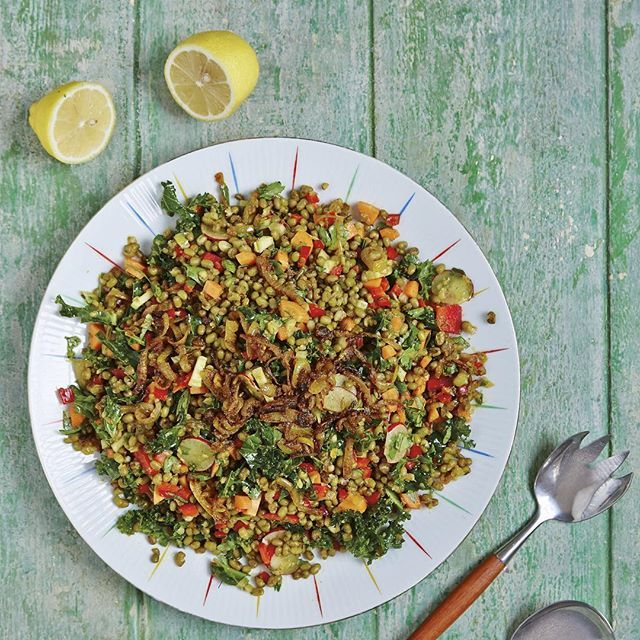 Simple & Spiced Mung Bean Salad. We are serious advocates of the humble mung bean! Nutritious, cheap and easy to cook, this is our salad version of an Indian-spiced dahl. Have it alone or with a selection of other dishes as part of a mezze spread. Makes a great packed lunch too. Find the recipe on p256 of Good + Simple