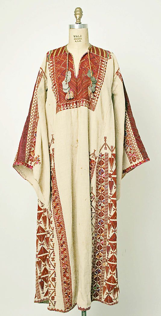 Date: early 20th century Culture: Middle Eastern (Palestinian peoples) Medium: cotton, silk, metal