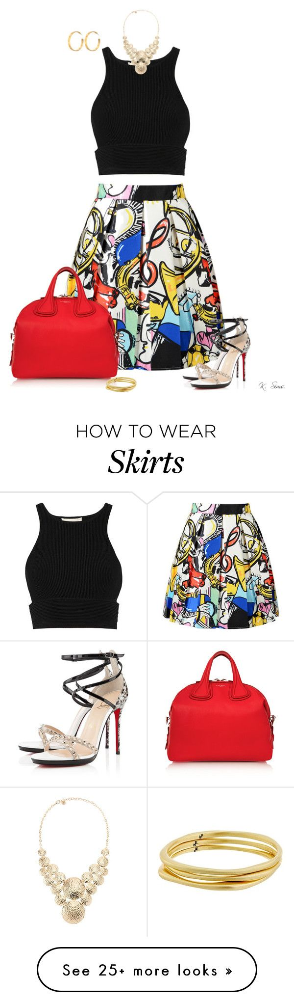 """""""Love this skirt......and shoes"""" by ksims-1 on Polyvore featuring WithChic, Jonathan Simkhai, Givenchy, R.J. Graziano, Karen Kane, Tory Burch and Christian Louboutin"""