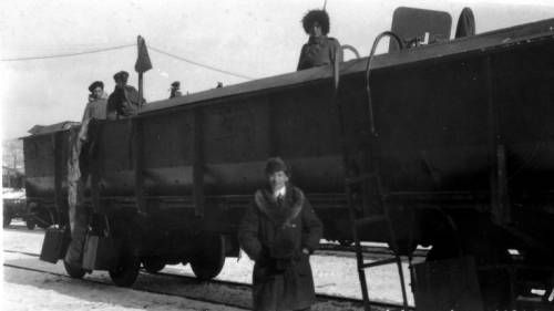 Mark Moody in front of armored train in Vladivostok. http://digitallibrary.usc.edu/cdm/ref/collection/p15799coll46/id/55