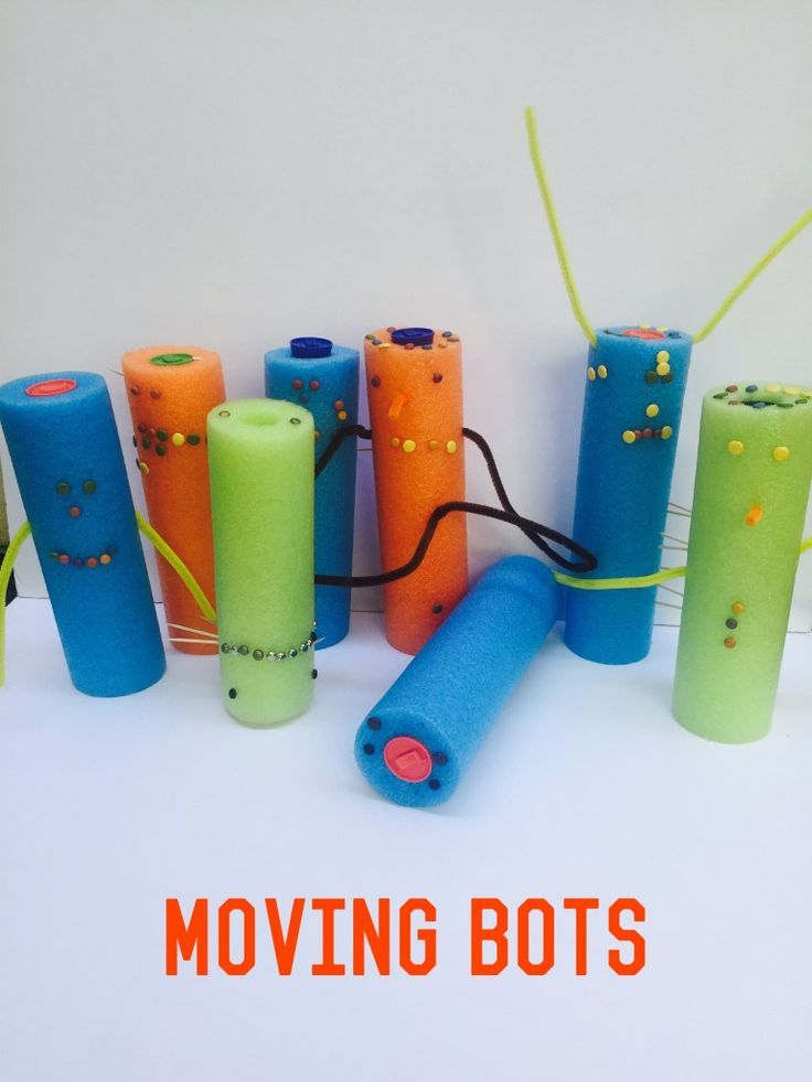 Make robots out of pool noodles and stuff around the house. Great imaginative play for kids.