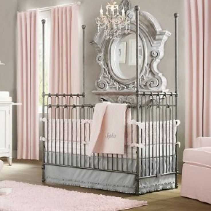 Luxurious Baby Nursery Design Idea With Gray Crib Pink Curtains And Mirror Frame