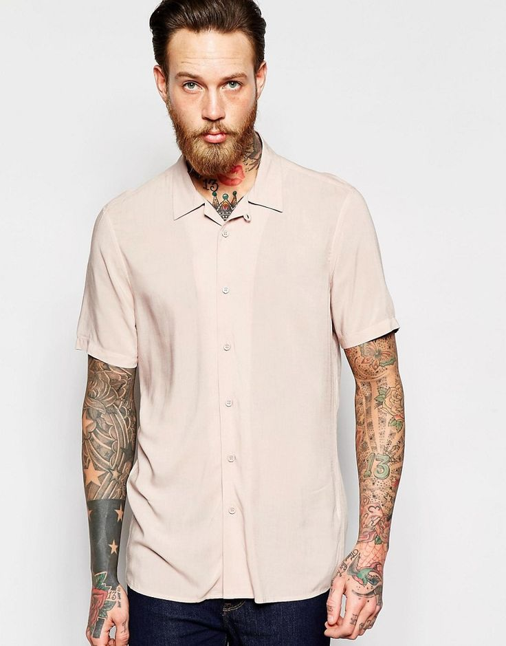 Image 1 of ASOS Viscose Revere Collar Shirt In Dusty Pink