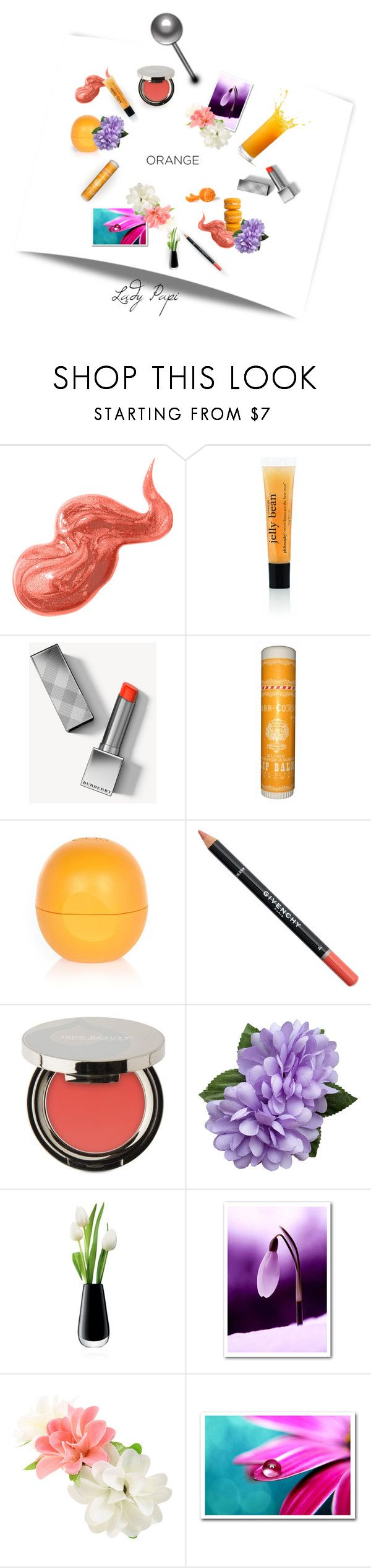 """""""Fall Beauty: Orange Crush"""" by papillon-ze-cat ❤ liked on Polyvore featuring beauty, Bobbi Brown Cosmetics, Burberry, River Island, Givenchy, Juice Beauty and LSA International"""