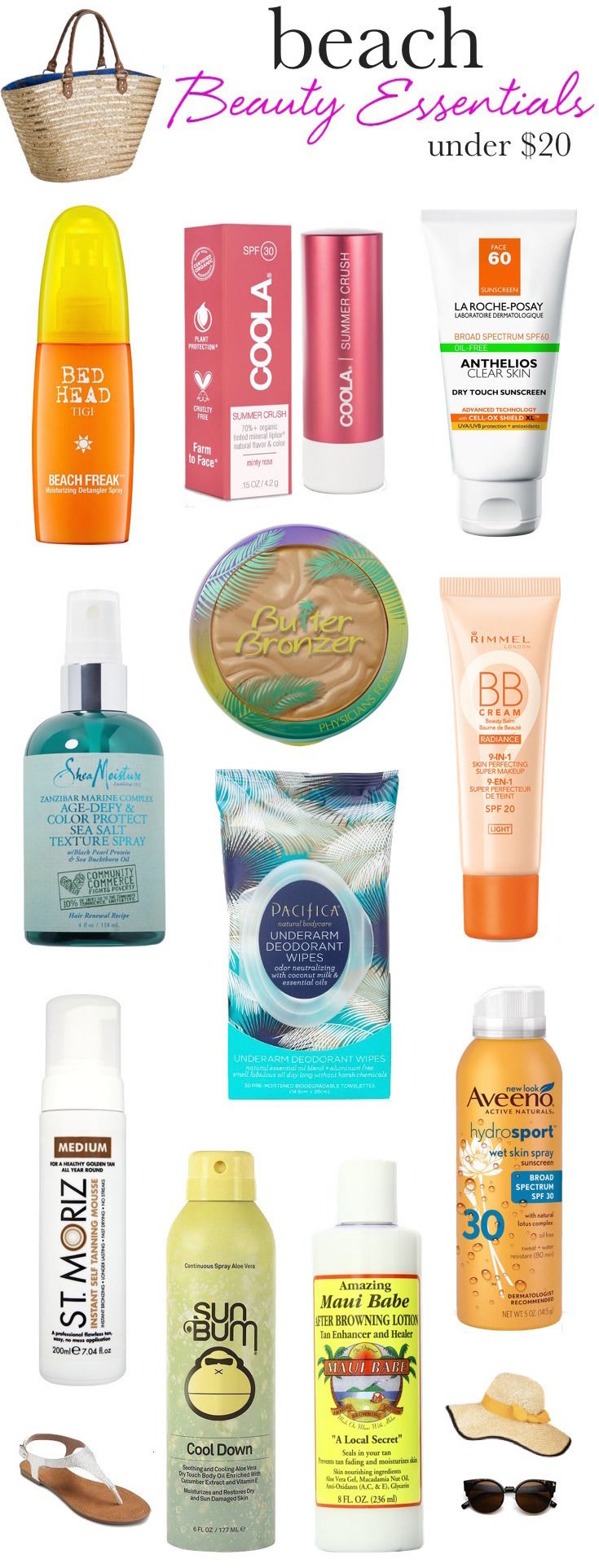 Whether you'll be lounging poolside or hitting the beach, throw these sweat-proof, frizz-busting summer beauty essentials in your tote to keep your skin, hair and makeup in top shape...and they're all under $20!