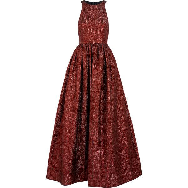 Alice + Olivia Emelia metallic cloqué gown ($430) ❤ liked on Polyvore featuring dresses, gowns, red, metallic dress, red metallic dress, red evening gowns, metallic evening gowns and loose fitted dresses