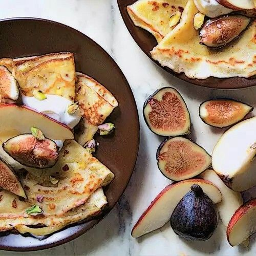 Cornmeal Crepes with Figs and Pears - bon appetit