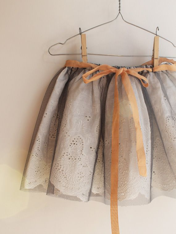 cute idea! eyelet under tulle for the Tutu from Little Things to Sew. Makes it into more of a skirt.