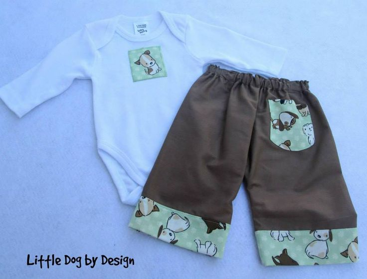 Handmade by Little Dog by Design Onesie and Long Pants