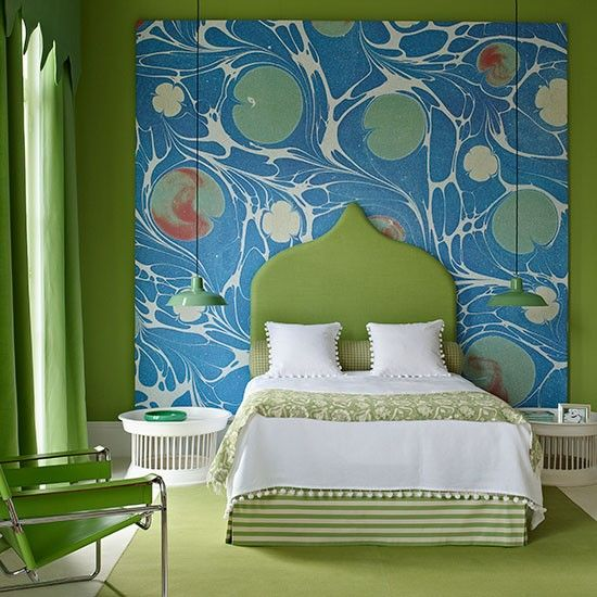 This would wake me up in the morning! Bold backdrop | Colourful bedrooms | | Housetohome.co.uk