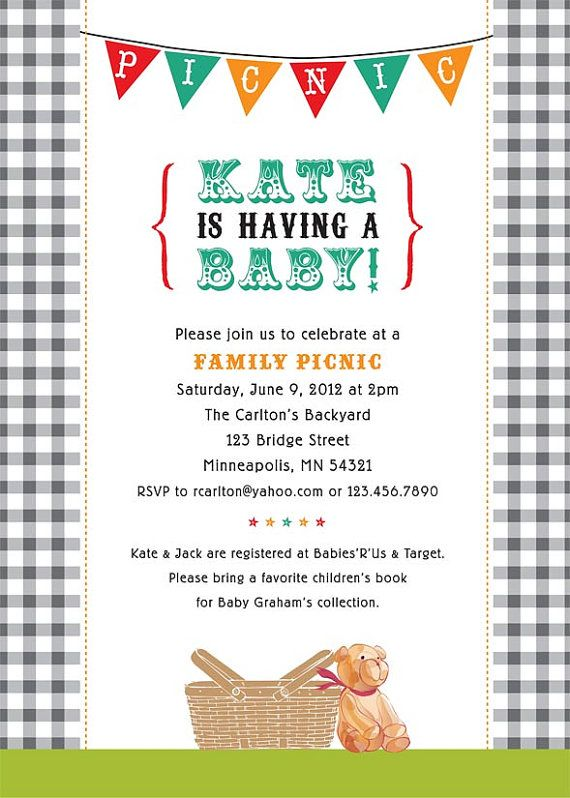 Picnic Shower Invite I LOVE THIS, obv. change for a wedding shower