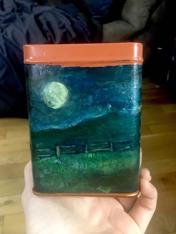 Moon Storage tin crystals candles pencils stash box up cycled recycled materials cat fence night sky stars full moon holder ooak lid