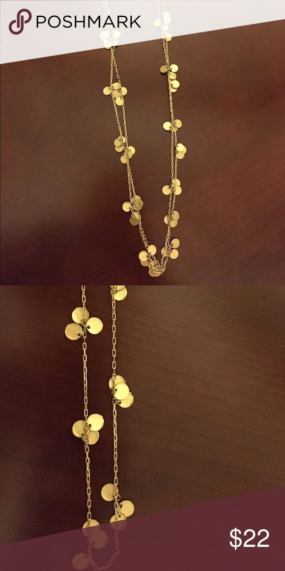 """Long Gold Coin Necklace This is a fun long necklace. It can be worn as a long strand 32"""" long or doubled or tripeles for a chocker / layered necklace look. Gently used, but still fabulous! Jewelry Necklaces"""