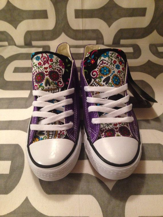 Sugar skull custom Chuck Taylor Converse shoes by MizMaryMacks