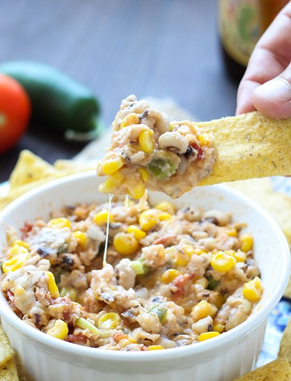 Black Eyed Pea Dip: made with creamy Greek yogurt, crunchy sweet corn, and gooey cheese. Healthy, satisfying, and perfect for a football party.