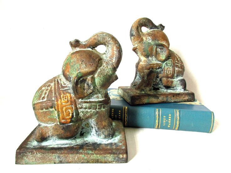 Asian Elephant Bookends, Cast Iron Elephant Doorstop, Elephant Lover Gift Idea, Pachyderm, Elephant Bookends, Mid Century Bookends by ALotOfLifeAndLove on Etsy https://www.etsy.com/listing/507999193/asian-elephant-bookends-cast-iron