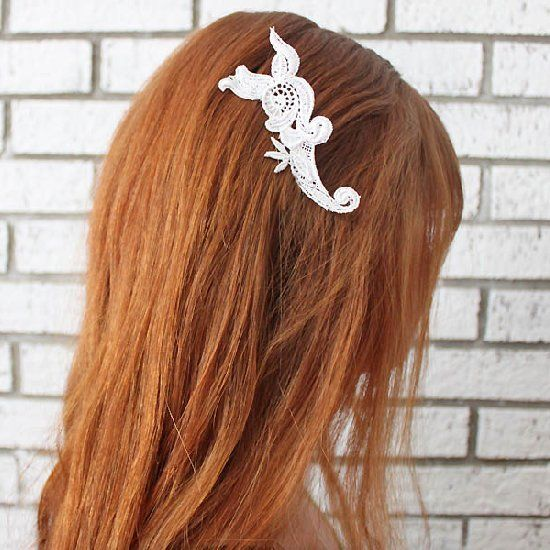 Tutorial shows you how to create a romantic, lace hair comb inspired by Anthropologie.