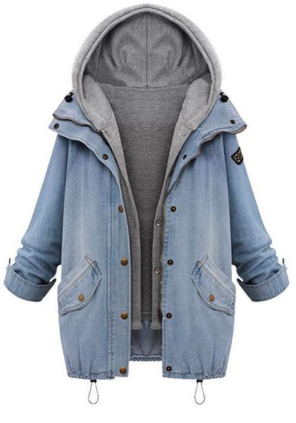 Two-Piece Denim Jacket   Grey Hood | Clothing Wishes | Pinterest