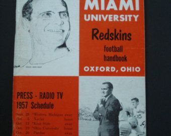 This is a Rare 1957 press radio and TV Football Guide to the Miami University Redskins Football Handbook Brochure.