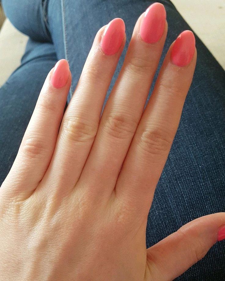 #nail #short #acrylic #oval #almond #coral #nailart #nails ...