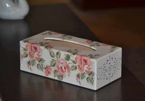 Shabby rose decor Kleenex tissue box cover Rectangular napkin holder Provence utensil kitchen storage Wooden decorative cookie candy basket