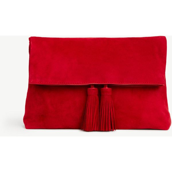 Ann Taylor Suede Foldover Tassel Clutch ($148) ❤ liked on Polyvore featuring bags, handbags, clutches, real red, red purse, fold-over clutches, tassel handbag, foldover handbags and suede purse