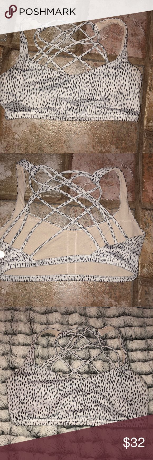 Lululemon Free To Be Wild Sports Bra Lululemon Sports Bra Animal print Strappy back  No bra pads, but you can get them for free from your local store! Great condition lululemon athletica Intimates & Sleepwear Bras