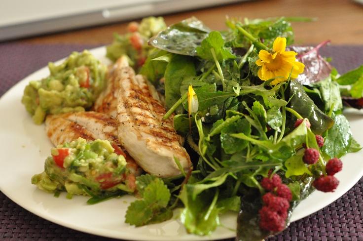 BBQ chicken, guacamole, wild garden salad